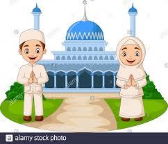 Feliz dibujos animados musulmanes niños frente a la mezquita ...